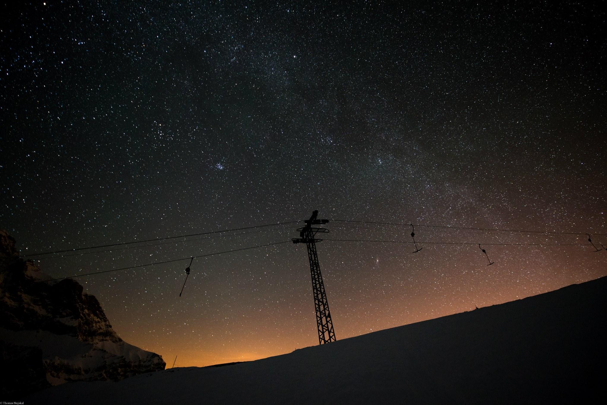 Nachtaufnahme Skilift Bannalp