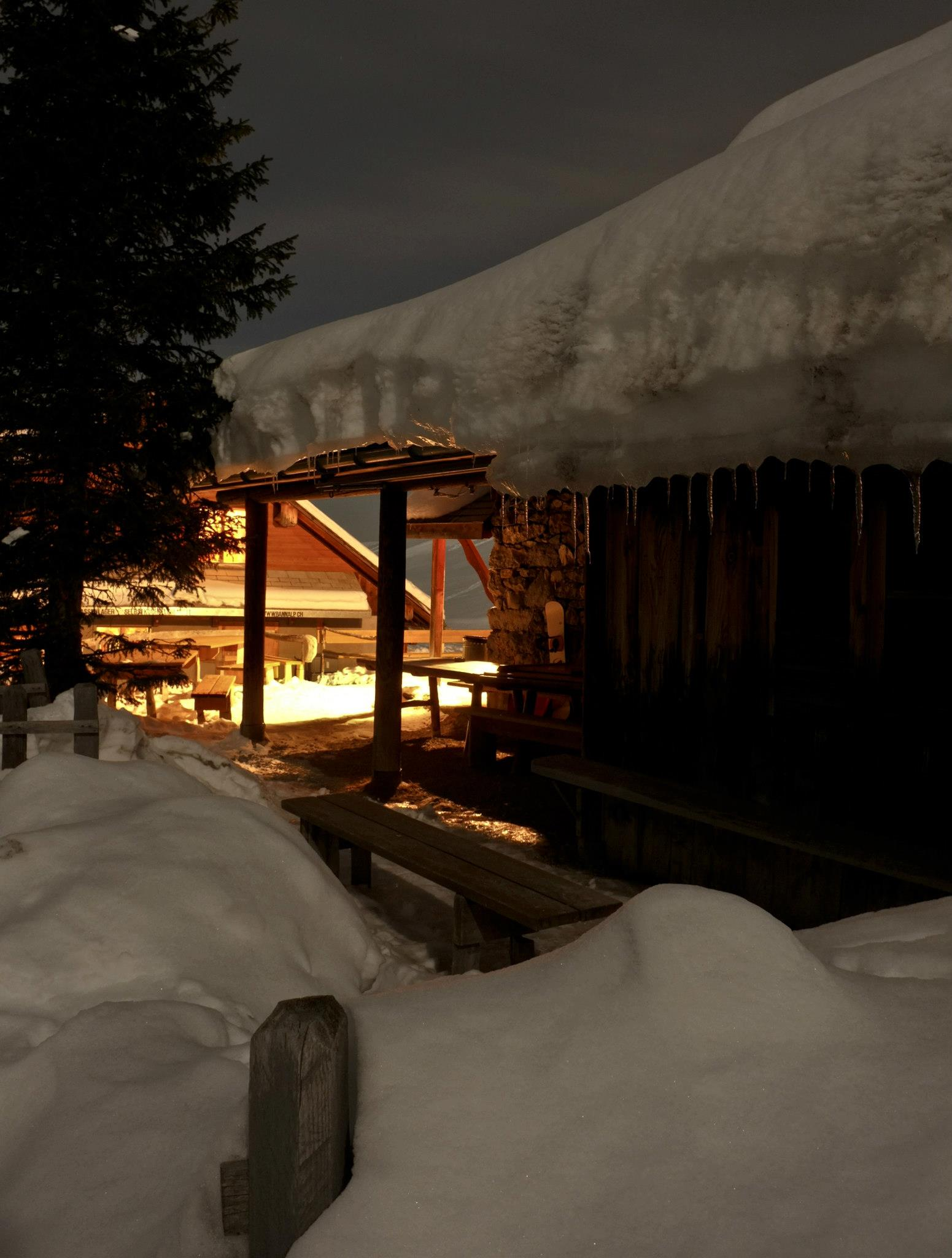 Nachtaufnahme Berghütte Chrüzhütte